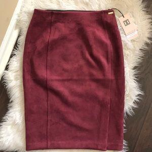 Ivanka Trump velvet burgundy side slit skirt